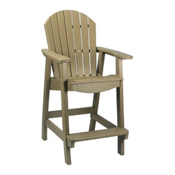 """Outdoor Furniture - Rise above the rest with Comfort Craft maintenance-free Pub Chairs. Great standalone chairs or fit up to four comfortably around a Comfort Craft 44""""-diameter round table. Built in the USA from durable, recycled HDPE plastic for the look and feel like real wood. Virtually no maintenance required. Extremely easy to clean with soap and water."""