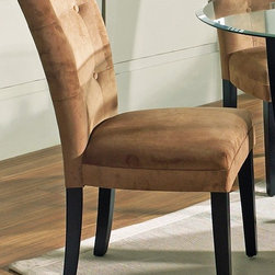 Steve Silver Co. - Matinee Parsons Chair Upholstered in Camel - Tufted Camel microfiber seat. Multi-step Black finish. Contemporary style. Corner block construction. Tongue and groove joints. Select hardwood solids material. Some assembly required. 18 in. seat height. 25 in. L x 18 in. W x 38 in. H