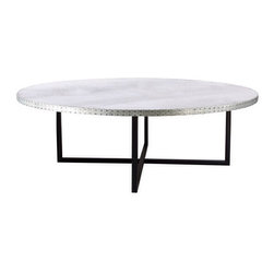 Kingston Krafts - Stella Zinc Top Coffee Table - Fabricated by hand, REAL zinc sheeted top is fitted to geometric wooden base. A signature acid wash is applied to the zinc top for a time worn look. Base is constructed of New England poplar wood in a matte black finish.