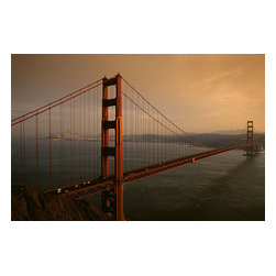 Custom Photo Factory - Golden Gate Bridge at Sunset, San Francisco, California Canvas Wall Art - Golden Gate Bridge at Sunset, San Francisco, California  Size: 20 Inches x 30 Inches . Ready to Hang on 1.5 Inch Thick Wooden Frame. 30 Day Money Back Guarantee. Made in America-Los Angeles, CA. High Quality, Archival Museum Grade Canvas. Will last 150 Plus Years Without Fading. High quality canvas art print using archival inks and museum grade canvas. Archival quality canvas print will last over 150 years without fading. Canvas reproduction comes in different sizes. Gallery-wrapped style: the entire print is wrapped around 1.5 inch thick wooden frame. We use the highest quality pine wood available. By purchasing this canvas art photo, you agree it's for personal use only and it's not for republication, re-transmission, reproduction or other use.