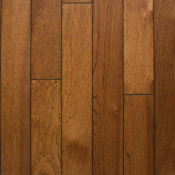 """Heirloom Collection Hickory Sable - 1/2"""" x 5"""" x random lengths (16""""-71"""") - Micro-beveled ends and edges - Smooth with character distressing, hand-cut edges - Anti-scratch finish with Aluminum Oxide - 25 year finish and lifetime structural warranty - Installation options: above or on grade; glue, nail, or floating"""