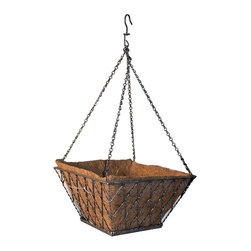 Panacea Products - 14'' Antiqued Silver Diamond Hanging Basket - Display your gorgeous plants with this hanging basket that offers a sturdy steel construction, a graceful diamond motif and a coco liner for cultivating lush, hearty blooms.   Includes planter and coco liner 14'' W x 7.5'' H x 14'' D Steel Imported