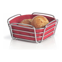 Blomus - Delara Bread Basket, Red, Small - The Blomus Delara Bread Basket is made with chrome-plated steel and cotton fabric insert.