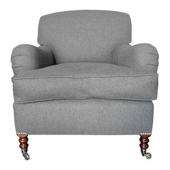 Consigned George Smith Standard Armchair in Charcoal Gray