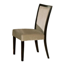 Steve Silver - Movado Velvet Parsons Chairs - Set of 2 - Indulge that part of you that desires versatility and retro styling. The sleek style of the the Movado dining collection features a deep merlot stained finish with luxurious velvet upholstered chairs.