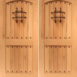 """Rustic Front Double Door, V-grooved Arch Panel, Speakeasy, Solid Wood - SKU#R455-SQ_2BrandAAWDoor TypeExteriorManufacturer CollectionBudget DoorsDoor ModelDoor MaterialWoodWoodgrainTropical HardwoodVeneerPrice1620Door Size Options72"""" x 80"""" (6'-0"""" x 6'-8"""")  $072"""" x 96"""" (6'-0"""" x 8'-0"""")  +$10084"""" x 96"""" (7'-0"""" x 8'-0"""")  +$200Core TypeSolidDoor StyleCraftsman , Rustic , Southwest StyleDoor Lite StyleDoor Panel Style2 Panel , Arch Panel , Grooved PanelHome Style MatchingCraftsman , Rustic , SouthwestDoor ConstructionTrue Stile and RailPrehanging OptionsPrehungPrehung ConfigurationDouble DoorDoor Thickness (Inches)1.75Glass Thickness (Inches)Glass TypeGlass CamingGlass FeaturesGlass StyleGlass TextureGlass ObscurityDoor FeaturesDoor ApprovalsDoor FinishesDoor AccessoriesSpeakeasy , ClavosWeight (lbs)850Crating Size25"""" (w)x 108"""" (l)x 52"""" (h)Lead TimeSlab Doors: 7 daysPrehung:14 daysPrefinished, PreHung:21 daysWarranty"""