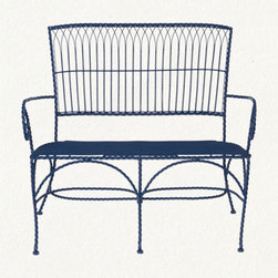 terrain: Roped Love Seat - I'm loving the delicate lines and the shade of blue of this piece. It would make a great basis for a lovely outdoor space.