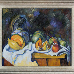 """overstockArt.com - Cezanne - Still Life with Melons and Apples Oil Painting - 20"""" x 24"""" Oil Painting On Canvas Hand painted oil reproduction of a famous Cezanne painting, Still Life with Melons and Apples. The original masterpiece was created in 1890-1941. Today it has been carefully recreated detail by detail, color by color to near perfection. Paul Cezanne is identified today as the most dominant influence in the abstraction of modern art. Cezanne drew influence from Pissarro and Manet early in his career. As he matured, Cezanne mostly portrayed still lifes in his art and has greatly influenced Cubism, a form of painting. This work of art has the same emotions and beauty as the original. Why not grace your home with this reproduced masterpiece? It is sure to bring many admirers!"""