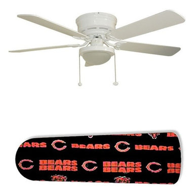 """Chicago Bears 52"""" Ceiling Fan with Lamp - This is a brand new 52-inch 5-blade ceiling fan with a dome light kit and designer blades and will be shipped in original box. It is white with a flushmount design and is adjustable for downrods if needed. This fan features 3-speed reversible airflow for energy efficiency all year long. Comes with Light kit and complete installation/assembly instructions. The blades are easy to clean using a damp-not wet cloth. The design is on one side only/opposite side is bleached oak. Made using environmentally friendly, non-toxic products. This is not a licensed product, but is made with fully licensed products. Note: Fan comes with custom blades only."""