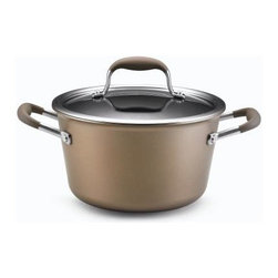 Anolon - Anolon Advanced Bronze Collection - 4.5 Qt. Covered Tapered Saucepot - Anolon Advanced Bronze Collection - 4.5 Qt. Covered Tapered Saucepot - 82258   A clever design for straining, pouring or covered cooking. The lid, made of crystal clear, break resistant glass, has a deep rim with optional straining holes. To strain, line the holes up with the pan's pour spouts and strain with ease. For covered cooking, rotate the lid to close the holes and moisture will stay inside the pan. To pour, remove the lid and use the pour spouts that are built into the pan body. Regardless of these convenient features, you have a saucepan made of even heating hard-anodized steel for great cooking performance. A durable nonstick surface makes for stress-free cleaning.