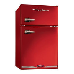 Nostalgia Electrics - Nostalgia Electrics RRF325HNRED Retro Series 3.1 cu. ft. Compact Refrigerator Fr - Shop for Compact from Hayneedle.com! The robust cherry red of the Nostalgia Electrics RRF325HNRED Retro Series 3.1 cu. Ft. Compact Refrigerator Freezer Red will add a pop of retro color to your home. With a vegetable crisper two removable shelves and a can dispenser this mid-century design boasts all the luxury of a full size fridge and freezer with a more compact size. A full-range adjustable thermostat ensures that your items are stored at the perfect temperature for you and your guests.