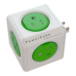 PowerCube - PowerCube Original, 5 Outlets - The traditional power strip gets a makeover with the PowerCube: a stackable, changeableset of cubical power-outlet extensions that introduce a different standard for power strips.