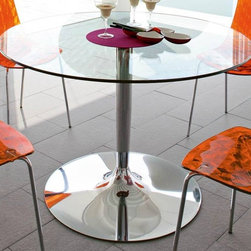 Calligaris - Planet Round Top Dining Table (Chromed) - Color: ChromedPictured in Chromed base. Transparent Glass top. Features a round top that seats all guests comfortably even when numbers are odd. It rests on a pedestal base fitted with a weighted metal base plate. Assembly required. 35.5 in. W x 35.5 in. D x 29.625 in. H