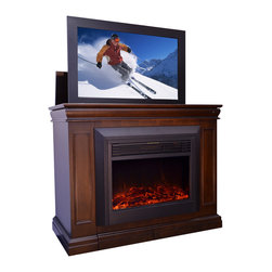 "Touchstone Home Products - Conestoga Espresso Fireplace TV Lift Cabinet for Flat Screen up to 46"" - The Conestoga TV lift is ideal for homes and offices looking to conceal or display their flat screen TVs in a tasteful way. When the TV is not in use, the Conestoga houses it inside a beautifully finished espresso cabinet, where it stays completely out of view. The integrated, completely assembled electric fireplace features the same realistic LED flame as Touchstone's popular line of wall-mounted electric fireplaces.The fireplace is housed in a separate compartment from the flatscreen TV, and is fully ventilated. It has two heat settings, and will heat a space of up to 400 square feet. The color changing flame delivers the look of a real fireplace, leaving guests wondering if this is a real gas fireplace. The Conestoga fireplace comes with a simple to use remote control that adjusts the flame intensity, the heat level and the built-in timer. Each Conestoga includes the espresso finished TV lift cabinet, Touchstone's WhisperLift II TV lift mechanism, a fully assembled electric fireplace, and wireless remotes for the lift mechanism and fireplace."
