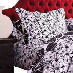 koi Design - Midnight in the Garden White Duvet Set - Black, white and chic all over! Dress your bed in this mostly white duvet set, made from silky, 300-thread count cotton sateen and splashed with a sophisticated spin on the classic floral design. Whether outfitting the master or guest suite, accent the set with a bold primary hue, like red, blue or yellow.