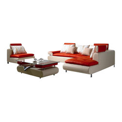 VIG Furniture - Satelite - Modern Contemporary White and Red Sectional Sofa Set - Its a pure white contemporary sectional sofa to blend in or stand out in any living room space or office. Intricate craftsmanship put on this sectional sofa adds value with its decorative touch and design. Tufted padded leather adds style and comfort. This low profile sectional sofa artwork comes with an exceptionally designed coffee table. Real leather front cover and high quality leather match for the back for long-lasting use. May be customized according to preference.