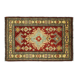 """Manhattan Rugs - New Hand Knotted Wool Carmine Red Persian 4'x6"""" Super Kazak Geomation Rug H4067 - Kazak (Kazakh, Kasak, Gazakh, Qazax). The most used spelling today is Qazax but rug people use Kazak so I generally do as well.The areas known as Kazakstan, Chechenya and Shirvan respectively are situated north of Iran and Afghanistan and to the east of the Caspian sea and are all new Soviet republics. These rugs are woven by settled Armenians as well as nomadic Kurds, Georgians, Azerbaijanis and Lurs. Many of the people of Turkoman origin fled to Pakistan when the Russians invaded Afghanistan and most of the rugs are woven close to Peshawar on the Afghan-Pakistan border.There are many design influences and consequently a large variety of motifs of various medallions, diamonds, latch-hooked zig-zags and other geometric shapes. However, it is the wonderful colours used with rich reds, blues, yellows and greens which make them stand out from other rugs. The ability of the Caucasian weaver to use dramatic colours and patterns is unequalled in the rug weaving world. Very hard-wearing rugs as well as being very collectable"""