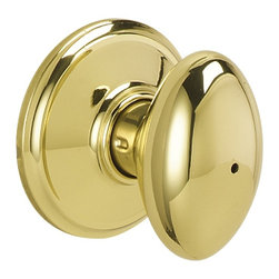 Schlage - Siena Bright Brass Bed and Bath Knob - F40 SI - Manufacturer SKU: F40 SIE 605. Handle Type: Knob. Use on a 1-3/8 in. to 1-3/4 in. thick door. Universal latch and Triple Option faceplate fit standard door preparations. Privacy knob, with push-button lock, for use on an interior bathroom or bedroom door. All-metal chassis for durability. Bright brass finish. Includes hardware for quick, 1-tool installation. Includes unlocking tool. ANSI Grade 2. Finish: Bright Brass. 2.6 in. L x 2.8 in. W x 2.8 in. H (1.1 lbs)