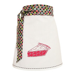 artgoodies - Organic Block Print Cherry Pie Apron - Each organic apron is hand printed with an original hand carved block print by Lisa Price. The band and ties are made of a coordinating vintage-style fabric and the embroidered accent at the bottom sets the fabric off just right!  Dazzle your kitchen on any ordinary day or be the cutest hostess ever!