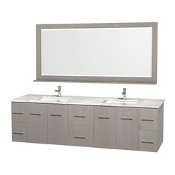 Wyndham Collection - Centra Grey Oak with White Carrera Top with Square Porcelain Undermount Sinks - Simplicity and elegance combine in the perfect lines of the Centra vanity by the Wyndham Collection. Dimensions: 80 in.