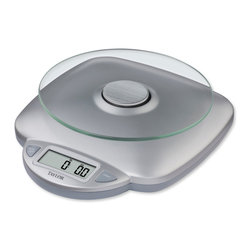 Taylor - Taylor Silver Glass Digital Kitchen Scale - The Taylor Silver Glass Digital Kitchen Scale has an 11-pound capacity and can be used with a variety of bowls and trays. This kitchen scale features a glass platform that resists staining and food carry over.