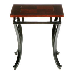 Holly & Martin - Holly & Martin Surrey End Table - Rich and curvaceous, this espresso end table is a wonderful accent to any transitional styling. The black metal frame has legs that arch inward to create a distinct look that adds a sense of flow to your room. Gracing the top of the frame is a beautifully stained espresso top that gushes with style. Add this end table to your home today for an instant upgrade.