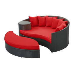 "LexMod - Taiji Outdoor Patio Daybed in Espresso Red - Taiji Outdoor Patio Daybed in Espresso Red - Harmonize inverse elements with this radically pleasing daybed set. Seven plush throw pillows adorn Taiji's thick all weather orange cushions allowing for the splendorous blending of mediating elements. Find the key to attainment as you bask in a charged and unified landscape of expansiveness. Set Includes: One - Taiji Outdoor Wicker Patio Daybed One - Taiji Outdoor Wicker Patio Ottoman Seven - Taiji Outdoor Wicker Patio Throw Pillows Synthetic Rattan Weave, Powder Coated Aluminum Frame, Water & UV Resistant, Machine Washable Cushion Covers, Ships Pre-Assembled Overall Product Dimensions: 71""L x 79""W x 29""H Daybed Dimensions: 71""L x 51""W x 29""H Ottoman Dimensions: 59""L x 28""W x 10""H Seat Height: 10""HBACKrest Height: 29""H - Mid Century Modern Furniture."