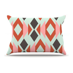"""Kess InHouse - Pellerina Design """"Coral Mint Triangle Weave"""" Orange Teal Pillow Case, Standard ( - This pillowcase, is just as bunny soft as the Kess InHouse duvet. It's made of microfiber velvety fleece. This machine washable fleece pillow case is the perfect accent to any duvet. Be your Bed's Curator."""