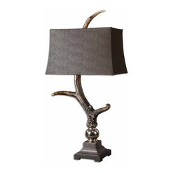 Stag Horn Antler Lodge Table Lamp - *This lamp has a burnished bone ivory finish with a crackled wood tone base and cast aluminum accents.