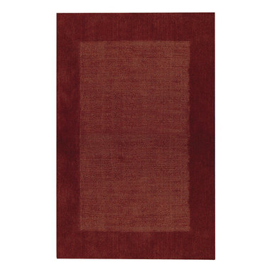 Riverdale rug in Redwood - These sturdy, hand loomed area rugs are woven of 100% pure wool and sheared by hand for a smooth - yet durable - surface.  The cut pile border and textured field make a quiet decorative statement, and the array of available color choices help them fit easily into any decor.