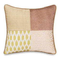 Glenna Jean - Glenna Jean Capetown Patch Pillow - Adventurous fabrics like cheetah-print velvet, faux leather and a leaf print make up this patchwork pillow from the Glenna Jean Capetown crib bedding collection.