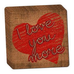 """Made on Terra - I Love You More with Hearts Thin Cork Coaster Set of 4 - You're just cleaning up after your epic party when you realize it... something's different. Unlike all those other times, you're not mopping up cup condensation from your counters and tables. This time, everyone used a coaster. Everyone. Maybe it's because you handed out a coaster with every glass. No. You've tried that before. No, this time it's because of the actual coasters. You found the cutest Made On Terra printed cork coasters. You love that everyone commented on how unique they were,  from the light-weight, thin cork material to the printing that creates a cool and subtle effect. Plus, they're really absorbent, but dry quickly. And they're made from an eco-friendly, sustainable resource, so that makes you feel pretty great, too. Choose from Made on Terra's many fabulous cork coasters. Measures 4"""" x 4"""" x 1/8"""". Made of thin cork. Super cute and nicely absorbent. Sold in sets of four."""