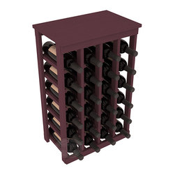 24 Bottle Kitchen Wine Rack in Pine with Burgundy Stain - Petite but strong, this small wine rack is the best choice for converting tiny areas into big wine storage. The solid wood top excels as a table for wine accessories, small plants, or whatever benefits the location. Store 2 cases of wine in a space smaller than most televisions!