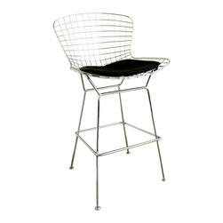 Wholesale Interiors - Bertoia Style Wire Barstool - Steel wire mesh barstool with chrome feel. Simple yet stylish design. Completes with leatherette seat pad for comfort. Steel legs and plastic none-slip glider.