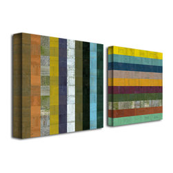 Trademark Art - Michelle Calkins Wooden Abstract VI - 3 Panel - Gallery Wrapped Canvas Art. Canvas wraps around the sides and is secured to the back of the wooden frame. Frameless presentation of the finished painting. 24 in. L x 24 in. W x 2 in. D (6 lbs.)