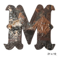 None - Ozark Folk Art Reclaimed Tin Letter M - This antique decorative letter M is handmade in the United States from reclaimed ceiling tin from the early 1900s. Constructed from assorted pieces of tin hammered to evoke a patch work effect,this letter has a unique color pattern and texture.