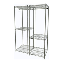 "InterMetro Industries - Pair of Metro Closet Organizers Chrome - What an easy way to organize items of varying sizes.  This pair of organizers offers space for hanging as well as shelves for storage.  Use it in your closet, laundry room or even in the entry way.  Use them side by side or split them between locations in your home.  Each unit consists of (4) posts, (3) light duty shelves, and (1) 24"" chrome hanger bar.  Maybe you'll want to add casters.  Light assembly required."