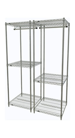 "InterMetro Industries - Pair of Metro Closet Organizers - What an easy way to organize items of varying sizes.  This pair of organizers offers space for hanging as well as shelves for storage.  Use it in your closet, laundry room or even in the entry way.  Use them side by side or split them between locations in your home.  Each unit consists of (4) posts, (3) light duty shelves, and (1) 24"" chrome hanger bar.  Maybe you'll want to add casters.  Light assembly required."