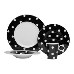 Freshness Dots Black 4Pc Place Setting - The Freshness collection brings a vibrant burst of color into your home.  Adorned with vertical lines, solid bands and dots in a variety of hues, this four piece place setting is perfect for casual and formal entertaining alike.