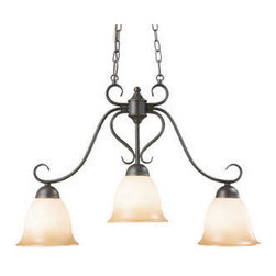 DHI-Corp - Cameron 3-Light Island Pendant, Oil Rubbed Bronze - The Design House 512699 Cameron 3-Light Island Pendant is made of formed steel, antique glass and finished in oil rubbed bronze. This 3-light pendant is rated for 120-volts and uses (3) 60-watt medium base incandescent bulbs. This pendant's versatile design is applicable for high or low ceilings. As a laid-back alternative to a chandelier, this fixture maintains a sophistiCated appeal while delivering indirect light with a pleasing aesthetic. Measuring 18.25-inches (H) by 26.25-inches (W), this 7.72-pound fixture comes with a 48-inch chain to extend from high ceilings. Graceful scrolled arms accentuate the antique glass to create an elegant accent above a kitchen island, bar or dining room table. This product is UL and cUL listed and suited for damp areas. The Cameron collection features a beautiful matching chandelier, vanity light, wall sconce and ceiling mount. The Design House 512699 Cameron 3-Light Island Pendant comes with a 10-year limited warranty that protects against defects in materials and workmanship. Design House offers products in multiple home decor Categories including lighting, ceiling fans, hardware and plumbing products. With years of hands-on experience, Design House understands every aspect of the home decor industry, and devotes itself to providing quality products across the home decor spectrum. Providing value to their customers, Design House uses industry leading merchandising solutions and innovative programs. Design House is committed to providing high quality products for your home improvement projects.