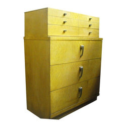 Used Art Deco Birdseye Maple Tall Chest - This is one of the most unique pure Art Deco pieces of furniture we have seen. The case is covered all over in rare birdseye maple veneer. The construction is first class. It was made by Union Furniture Co. of Lexington NC in a factory that burned down in 1936. The beveled detail of the top drawer gives the case a really clean and crisp appearance.