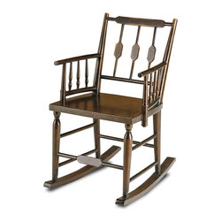 Currey & Co - Chestertown Rocking Chair - An updated take on traditional colonial designs, the Chestertown Rocking Chair's warm Brandywine Mahogany finish highlights its simple styling. Hand-carved spindles help to give this attractive piece a pleasing provincial feel. The Winterthur Collection.