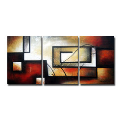 None - 'Abstract 418' 3-piece Gallery-wrapped Hand Painted Canvas Art Set - Artist: Unknown Title: Abstract 418 Product type: Hand painted 3-piece gallery wrapped canvas art set