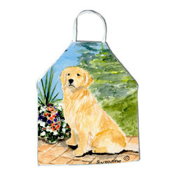 Caroline's Treasures - Golden Retriever Apron SS8758APRON - Apron, Bib Style, 27 in H x 31 in W; 100 percent  Ultra Spun Poly, White, braided nylon tie straps, sewn cloth neckband. These bib style aprons are not just for cooking - they are also great for cleaning, gardening, art projects, and other activities, too!