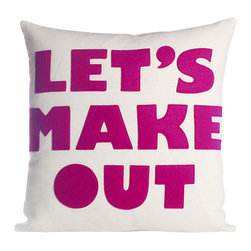 alexandra ferguson llc - Let's Make Out, Cream Canvas/Fuchsia - Show your confidence with this direct pillow that gets right to the point. What could be sexier than that? MADE IN THE USA