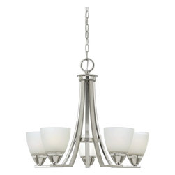 Quoizel - Quoizel Ibsen Modern/ Contemporary Chandelier X-NB5005EI - The modern, angular lines of this design take on a timeless architectural form. The simplicity of structure highlights the fine craftsmanship and sleek brushed nickel finish. The smooth, opal etched glass shades illuminate your home with soft contemporary style.