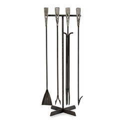 Henry Fireplace Tool Set - Utter simplicity of form with flat, spade-shaped ends produced by the blacksmith's hammer defines the Henry Fireplace Tool Set as a combination of classic craftsmanship techniques with the pared-down sleekness that suits transitional tastes. Complete the functionality as well as the aesthetic of a living space or master suite with this fire poker set on its free-standing rack.