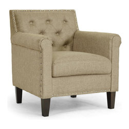 Wholesale Interiors - Thalassa Dark Beige Linen Modern Arm Chair - You will love the modernizing effect Thalassa's chic dark beige linen upholstery has on your living space. This designer arm Chair is made with a wooden frame, foam cushioning, and black solid rubberwood legs with non-marking feet. Shiny silver tone nail head accents dot the perimeter of the chair�s backrest. Crafted in Malaysia, this contemporary club Chair should be spot cleaned as necessary. Some minor assembly is required.