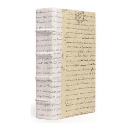 Go Home - Go Home Single White Script Book - This splendid book is wrapped in a simple yet elegant cover adorned with various scripts. Inspired from the Antique European country collection this book is bound to drag a variety into your interior decor. Carved with multiple raised panels on the spine of the book gives it even more realistic appeal and supports it while it stands alone.