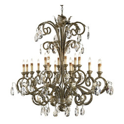 Currey and Company - Promenade Chandelier - A grand creation, this luxurious chandelier is a luminous revelation. Majestic crystals exquisitely sparkle along its wood and iron frame as it floods your interior with dramatic ambience. Brilliantly fill your open space its old-world elegance and behold the transformation.
